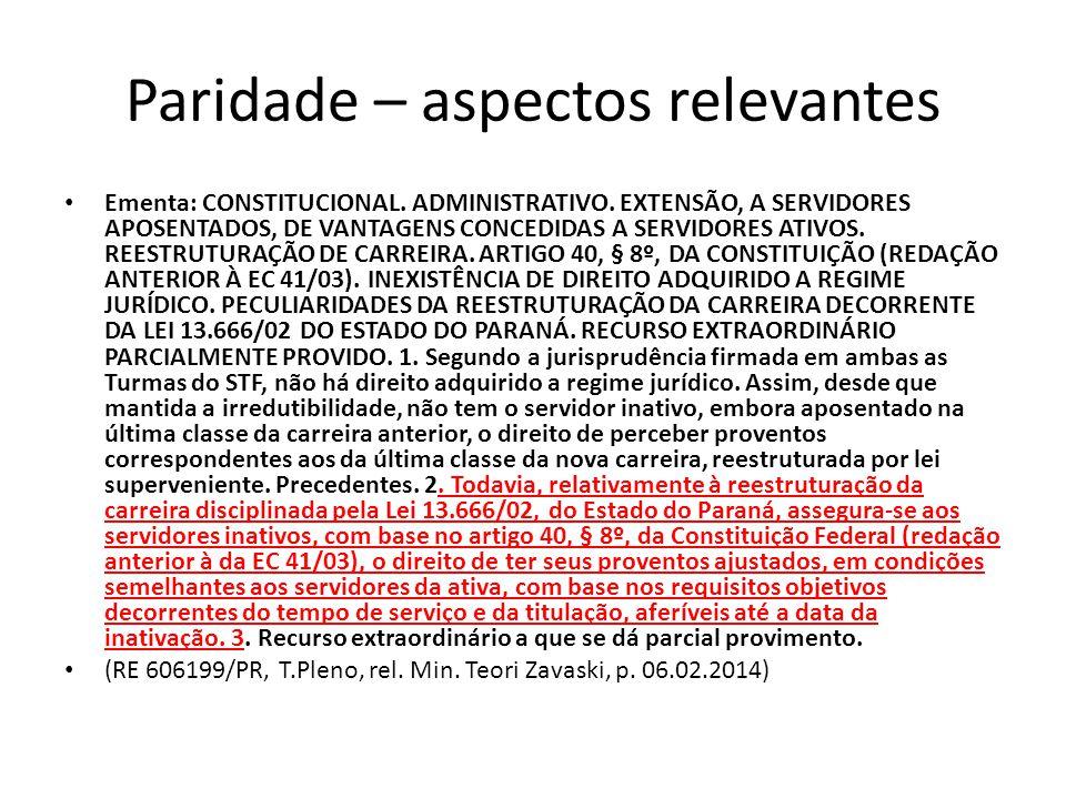 Paridade – aspectos relevantes Ementa: CONSTITUCIONAL.