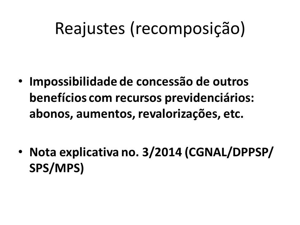 Reajustes (recomposição) Impossibilidade de concessão de outros benefícios com recursos previdenciários: abonos, aumentos, revalorizações, etc.