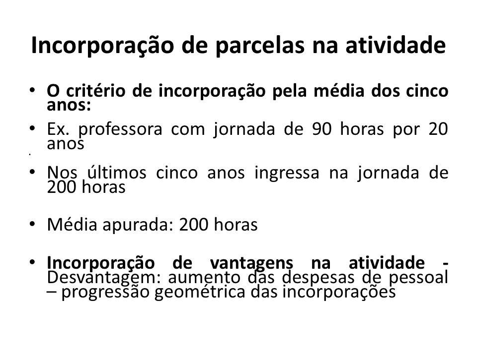 Incorporação de parcelas na atividade O critério de incorporação pela média dos cinco anos: Ex.