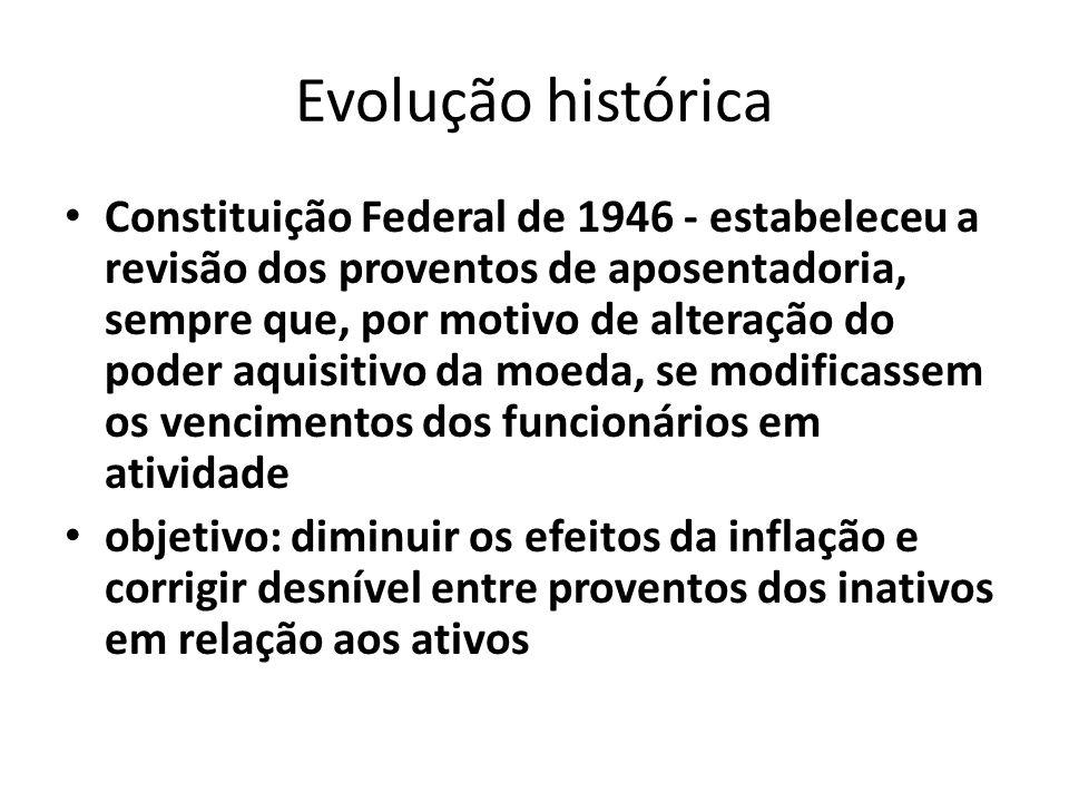 Evolução histórica Constituição Federal de 1967 – assegurou a revisão dos proventos para corrigir os efeitos da inflação (art.