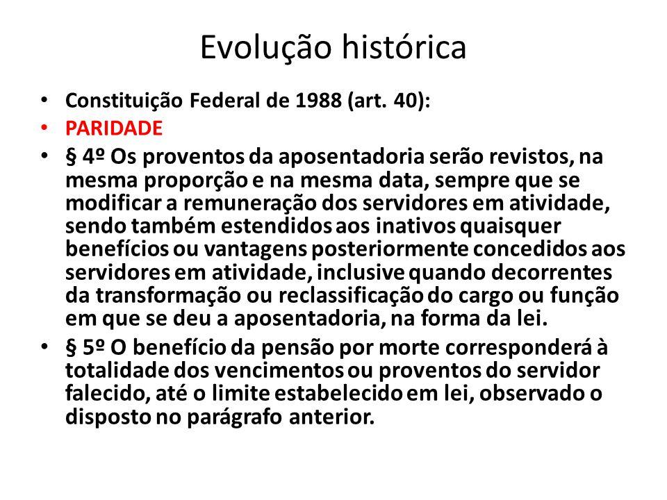 Evolução histórica EC 20/98 § 8º Observado o disposto no art.