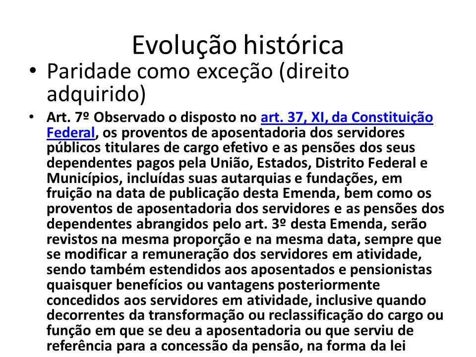 Evolução histórica Paridade como exceção (direito adquirido) Art.