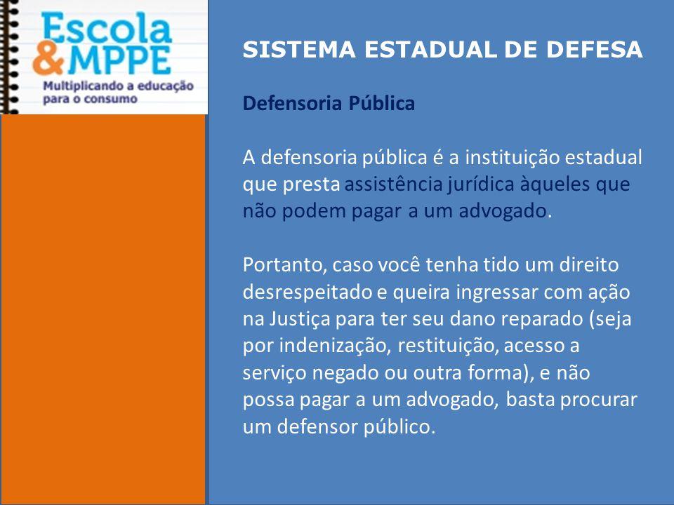 SISTEMA ESTADUAL DE DEFESA Defensoria Pública A defensoria pública é a instituição estadual que presta assistência jurídica àqueles que não podem pagar a um advogado.