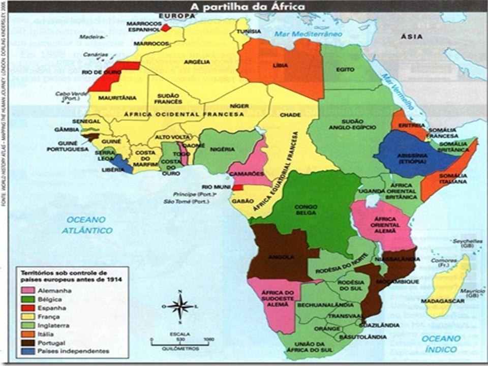 Exploração da África Os europeus a transformaram em fonte de matéria prima, para isso dividiram seu território segundo seus interesses, não respeitando os antigos limites, ora separando tribos inimigas no mesmo território.