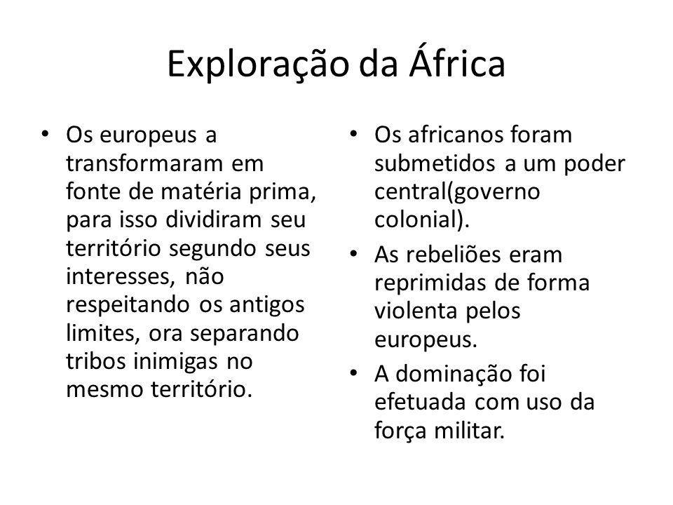 Exploração da África Os europeus a transformaram em fonte de matéria prima, para isso dividiram seu território segundo seus interesses, não respeitand