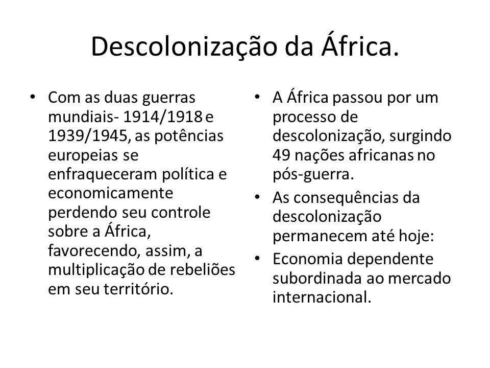 Descolonização da África. Com as duas guerras mundiais- 1914/1918 e 1939/1945, as potências europeias se enfraqueceram política e economicamente perde