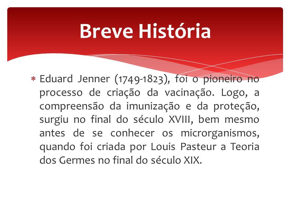 Eduard Jenner (1749-1823), foi o pioneiro no processo de criação da vacinação. Logo, a compreensão da imunização e da proteção, surgiu no final do s