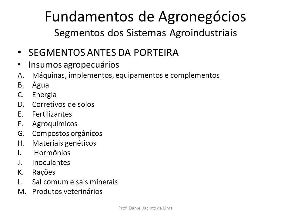 Fundamentos de Agronegócios Segmentos dos Sistemas Agroindustriais SEGMENTOS ANTES DA PORTEIRA Insumos agropecuários A.Máquinas, implementos, equipame