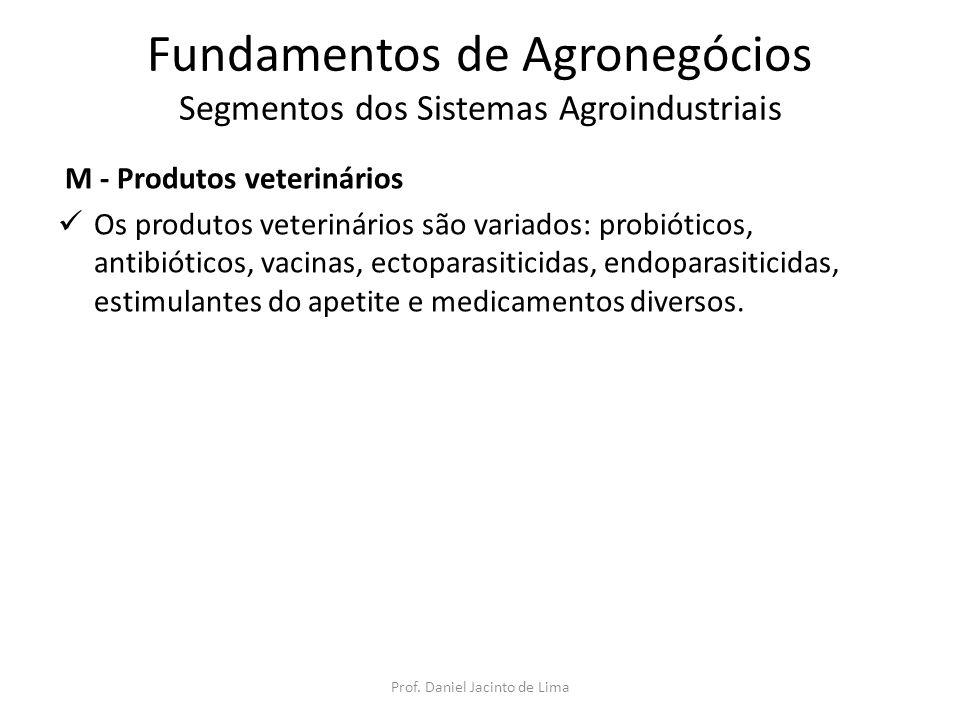 Fundamentos de Agronegócios Segmentos dos Sistemas Agroindustriais M - Produtos veterinários Os produtos veterinários são variados: probióticos, antib