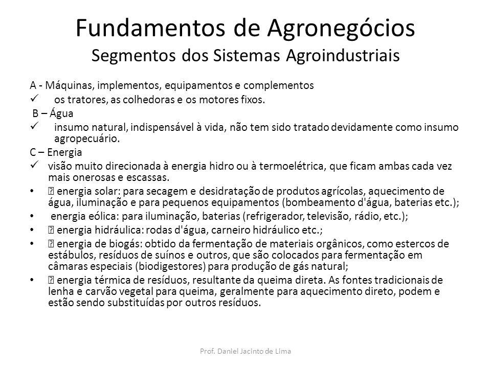 Fundamentos de Agronegócios Segmentos dos Sistemas Agroindustriais D - Corretivos de solos utilizados para corrigir deficiências nos solos, visando colocá-Ios em condições ideais para produção, detectadas por meio de análises laboratoriais.