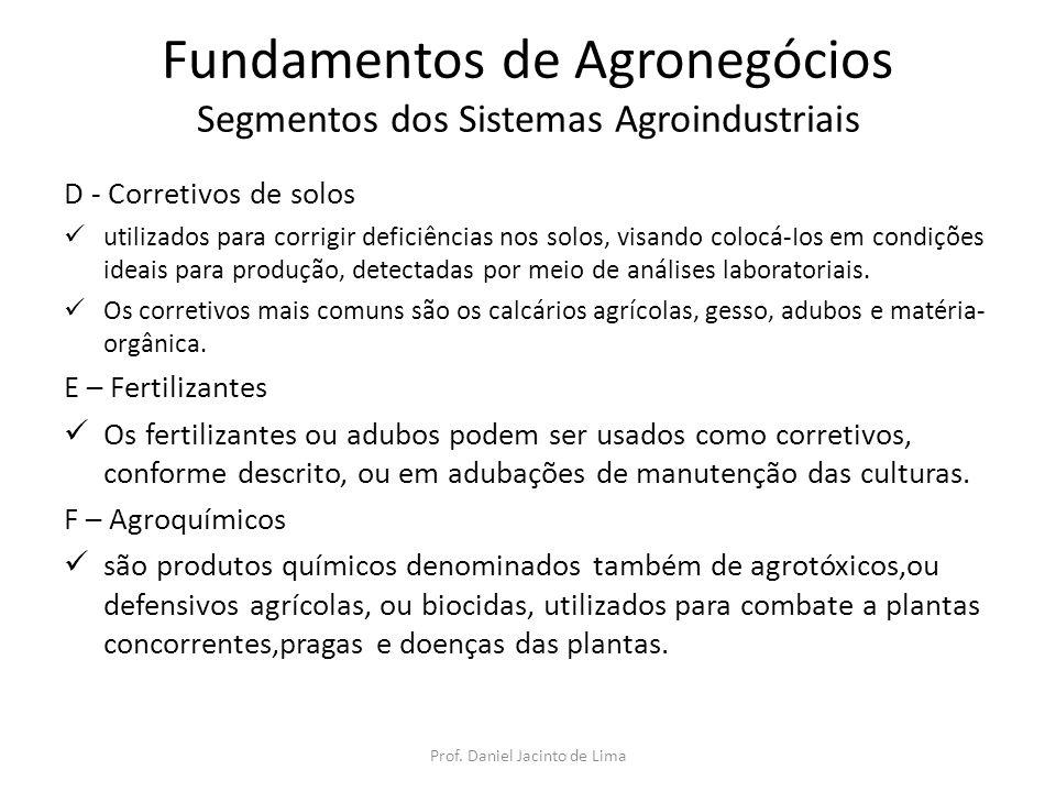Fundamentos de Agronegócios Segmentos dos Sistemas Agroindustriais D - Corretivos de solos utilizados para corrigir deficiências nos solos, visando co