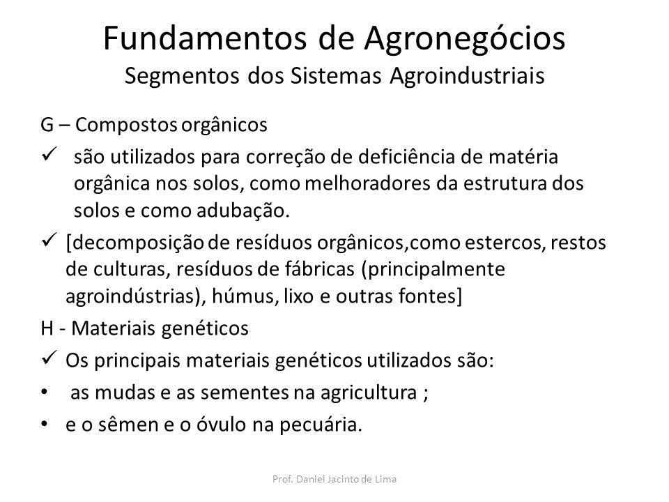 Fundamentos de Agronegócios Segmentos dos Sistemas Agroindustriais H - Materiais genéticos as mudas e as sementes na agricultura ; sementes varietais puras são de uma única variedade e produzem filhas iguais às mães por gerações sucessivas; sementes híbridas resultam do cruzamento de duas variedades (No Brasil, as sementes híbridas mais comumente usadas são as de milho e as de coco); sementes transgênicas são obtidas originalmente em laboratórios, mediante a técnica de deslocamento de um ou mais genes menos desejáveis e introdução de genes em substituição; sementes suicidas (ou tenninator) constituem-se em outro tipo de sementes desenvolvidas e caracterizam-se pela não-germinação das sementes-filhas Prof.