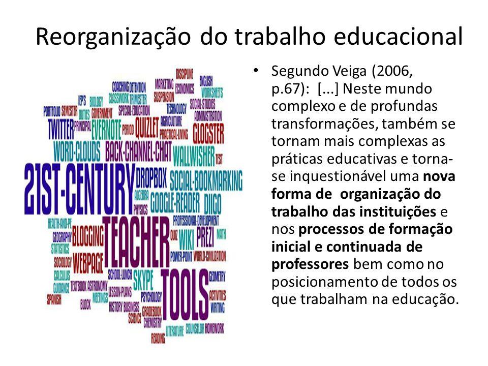 Reorganização do trabalho educacional Segundo Veiga (2006, p.67): [...] Neste mundo complexo e de profundas transformações, também se tornam mais comp