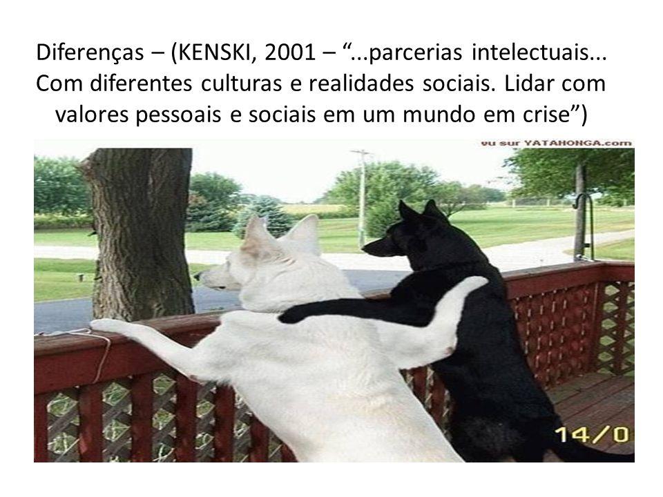 """Diferenças – (KENSKI, 2001 – """"...parcerias intelectuais... Com diferentes culturas e realidades sociais. Lidar com valores pessoais e sociais em um mu"""
