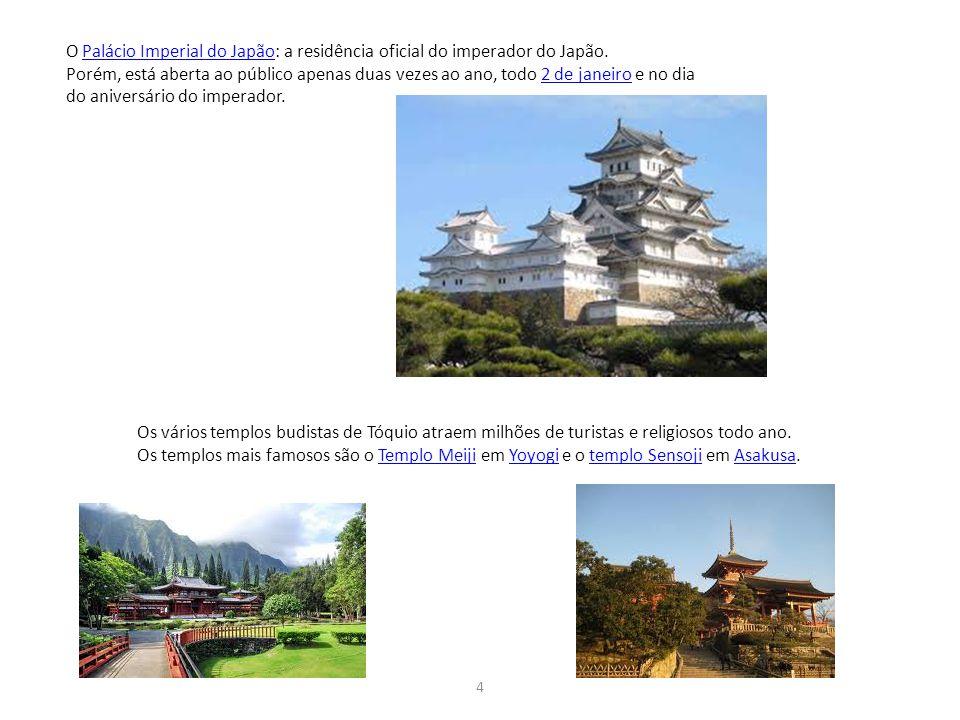 4 O Palácio Imperial do Japão: a residência oficial do imperador do Japão. Palácio Imperial do Japão Porém, está aberta ao público apenas duas vezes a