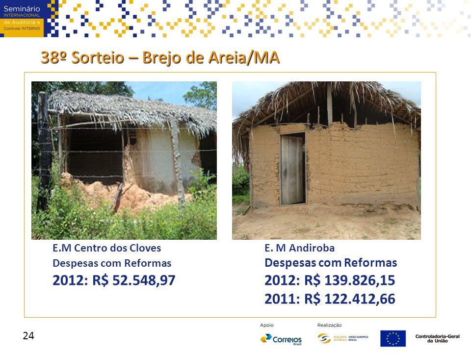 E.M Centro dos ClovesE. M Andiroba Despesas com Reformas 2012: R$ 52.548,972012: R$ 139.826,15 2011: R$ 122.412,66 38º Sorteio – Brejo de Areia/MA 24