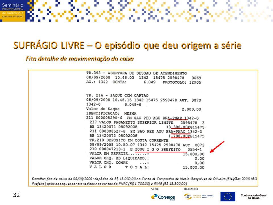 SUFRÁGIO LIVRE – O episódio que deu origem a série 32 Fita detalhe de movimentação do caixa