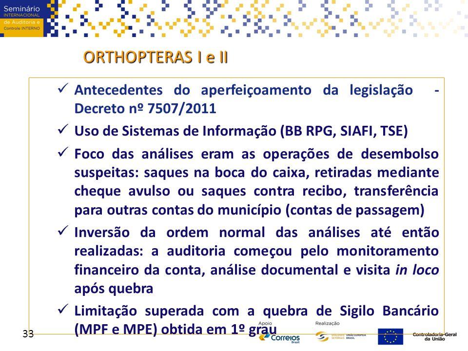 ORTHOPTERAS I e II Antecedentes do aperfeiçoamento da legislação - Decreto nº 7507/2011 Uso de Sistemas de Informação (BB RPG, SIAFI, TSE) Foco das an