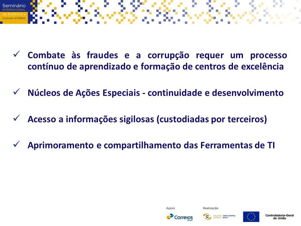 Combate às fraudes e a corrupção requer um processo contínuo de aprendizado e formação de centros de excelência Núcleos de Ações Especiais - continuid