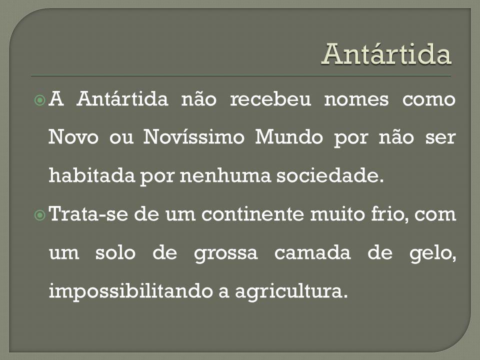  A Antártida não recebeu nomes como Novo ou Novíssimo Mundo por não ser habitada por nenhuma sociedade.  Trata-se de um continente muito frio, com u