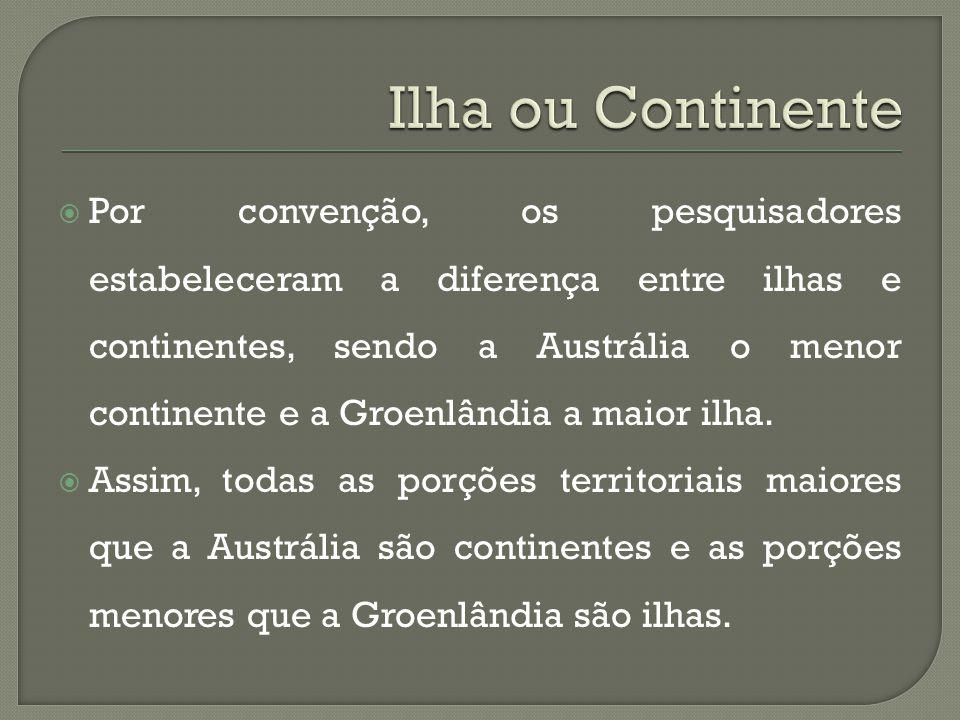  Por convenção, os pesquisadores estabeleceram a diferença entre ilhas e continentes, sendo a Austrália o menor continente e a Groenlândia a maior ilha.