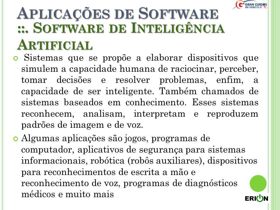 A PLICAÇÕES DE S OFTWARE Sistemas que se propõe a elaborar dispositivos que simulem a capacidade humana de raciocinar, perceber, tomar decisões e reso