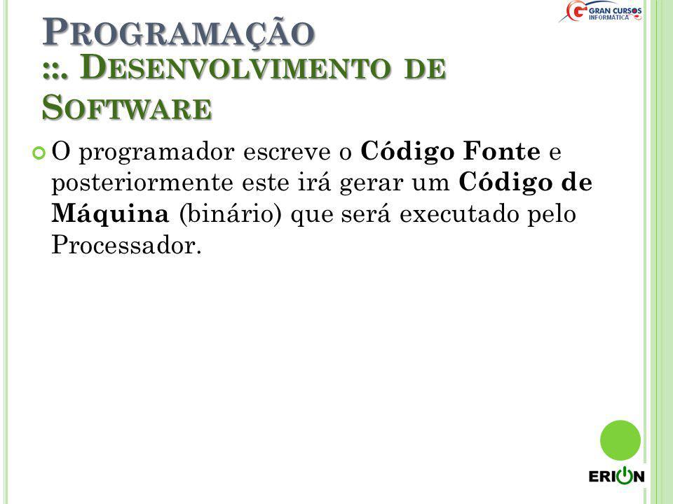 P ROGRAMAÇÃO O programador escreve o Código Fonte e posteriormente este irá gerar um Código de Máquina (binário) que será executado pelo Processador.