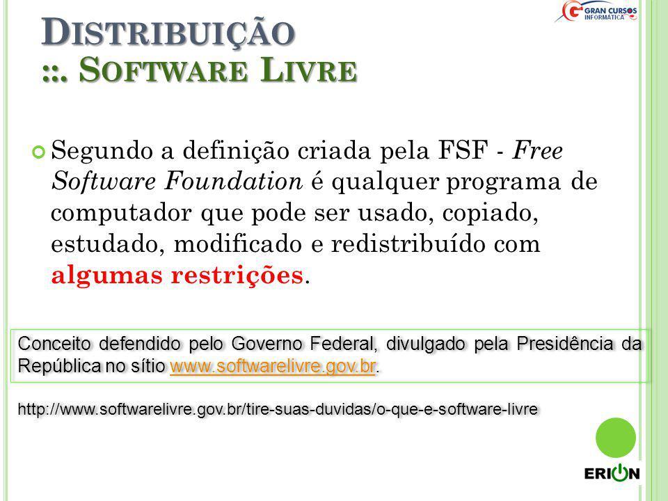 D ISTRIBUIÇÃO Segundo a definição criada pela FSF - Free Software Foundation é qualquer programa de computador que pode ser usado, copiado, estudado,
