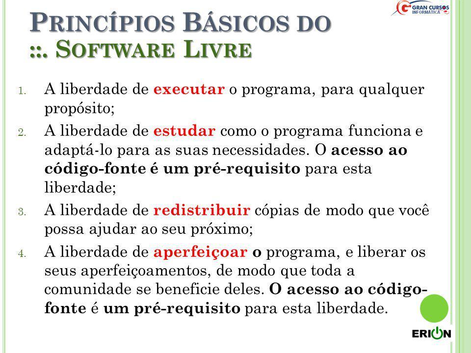 P RINCÍPIOS B ÁSICOS DO 1. A liberdade de executar o programa, para qualquer propósito; 2. A liberdade de estudar como o programa funciona e adaptá-lo