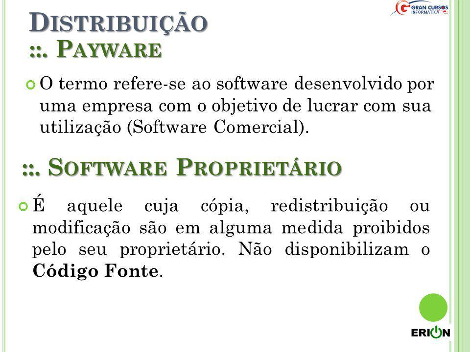 D ISTRIBUIÇÃO ::. P AYWARE O termo refere-se ao software desenvolvido por uma empresa com o objetivo de lucrar com sua utilização (Software Comercial)