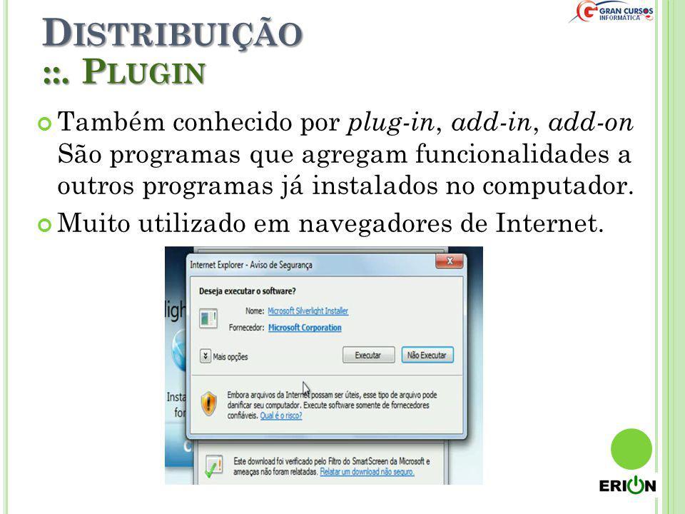 D ISTRIBUIÇÃO ::. P LUGIN Também conhecido por plug-in, add-in, add-on São programas que agregam funcionalidades a outros programas já instalados no c