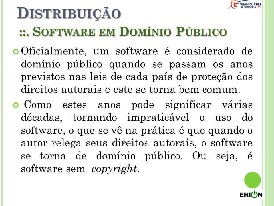 D ISTRIBUIÇÃO ::. S OFTWARE EM D OMÍNIO P ÚBLICO Oficialmente, um software é considerado de domínio público quando se passam os anos previstos nas lei