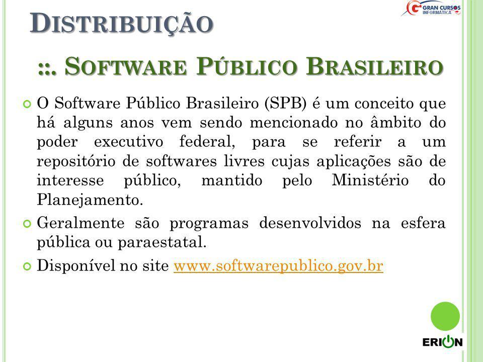 D ISTRIBUIÇÃO ::. S OFTWARE P ÚBLICO B RASILEIRO O Software Público Brasileiro (SPB) é um conceito que há alguns anos vem sendo mencionado no âmbito d