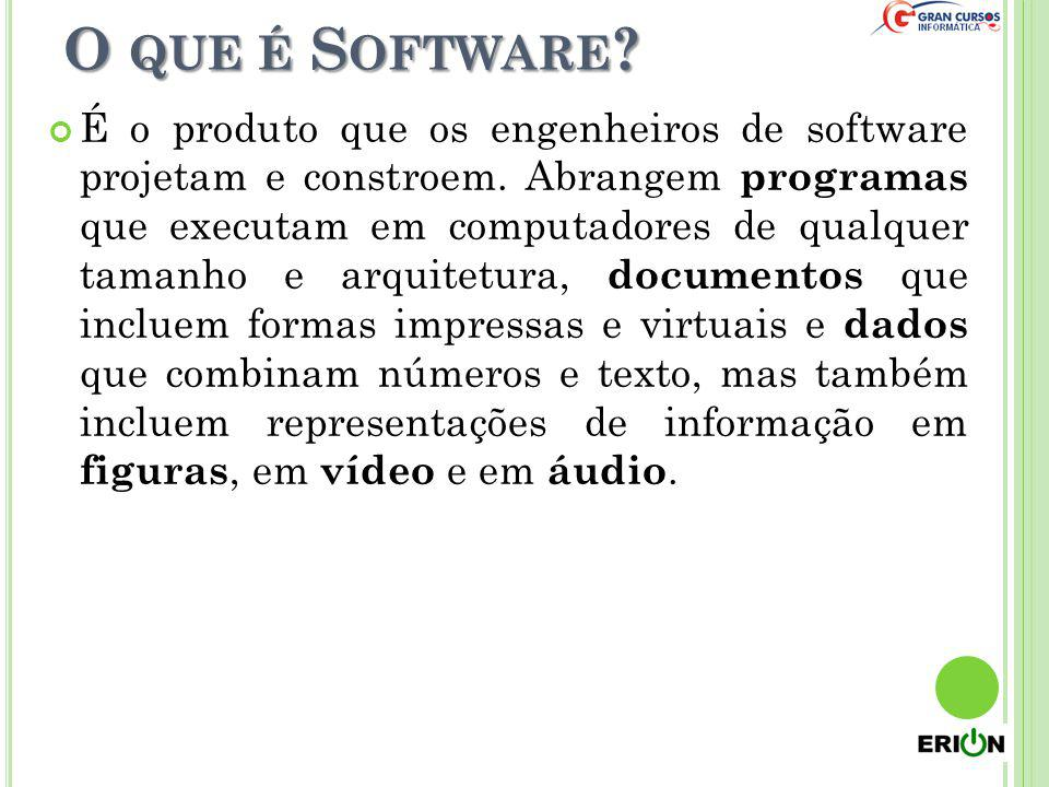 O QUE É S OFTWARE ? É o produto que os engenheiros de software projetam e constroem. Abrangem programas que executam em computadores de qualquer taman