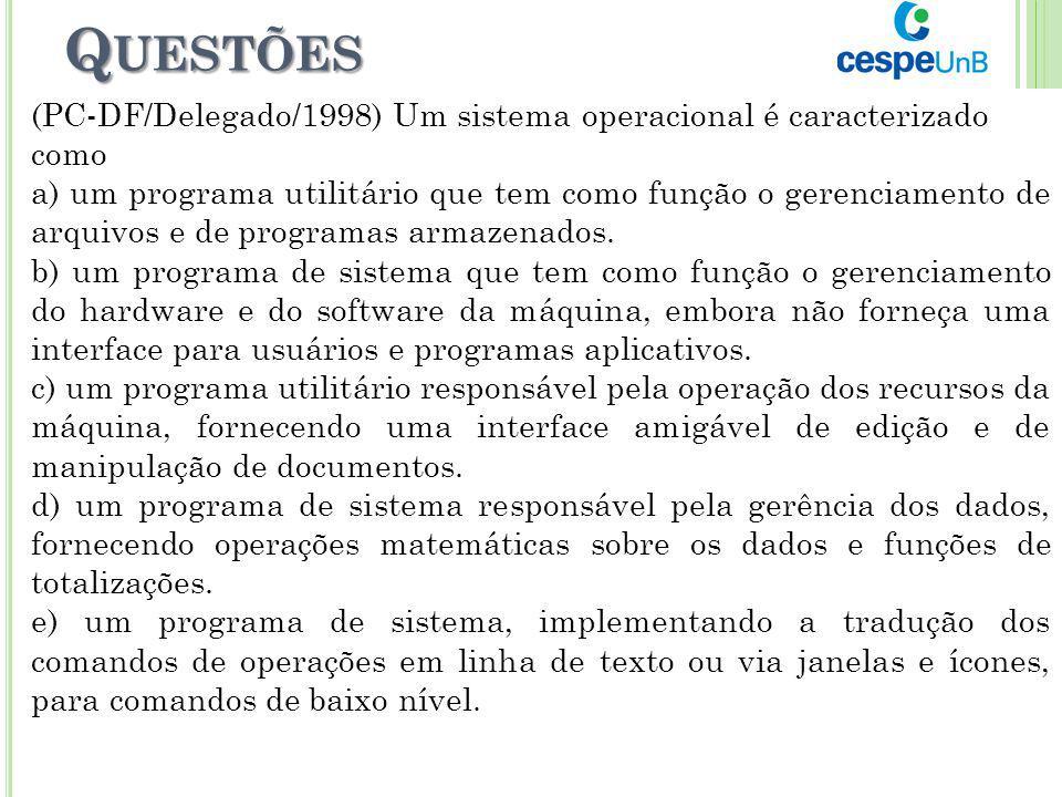Q UESTÕES (PC-DF/Delegado/1998) Um sistema operacional é caracterizado como a) um programa utilitário que tem como função o gerenciamento de arquivos