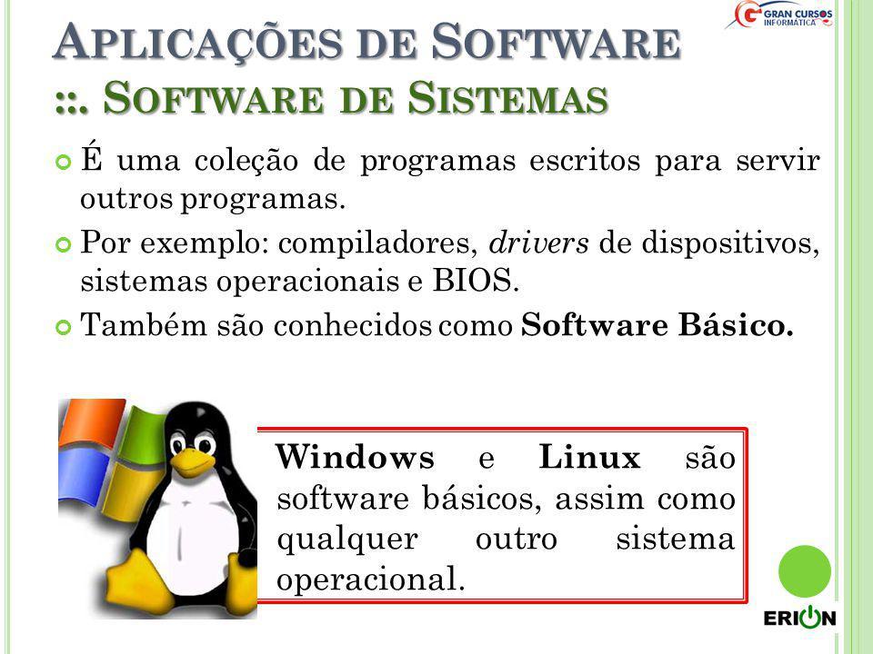 Windows e Linux são software básicos, assim como qualquer outro sistema operacional. A PLICAÇÕES DE S OFTWARE É uma coleção de programas escritos para