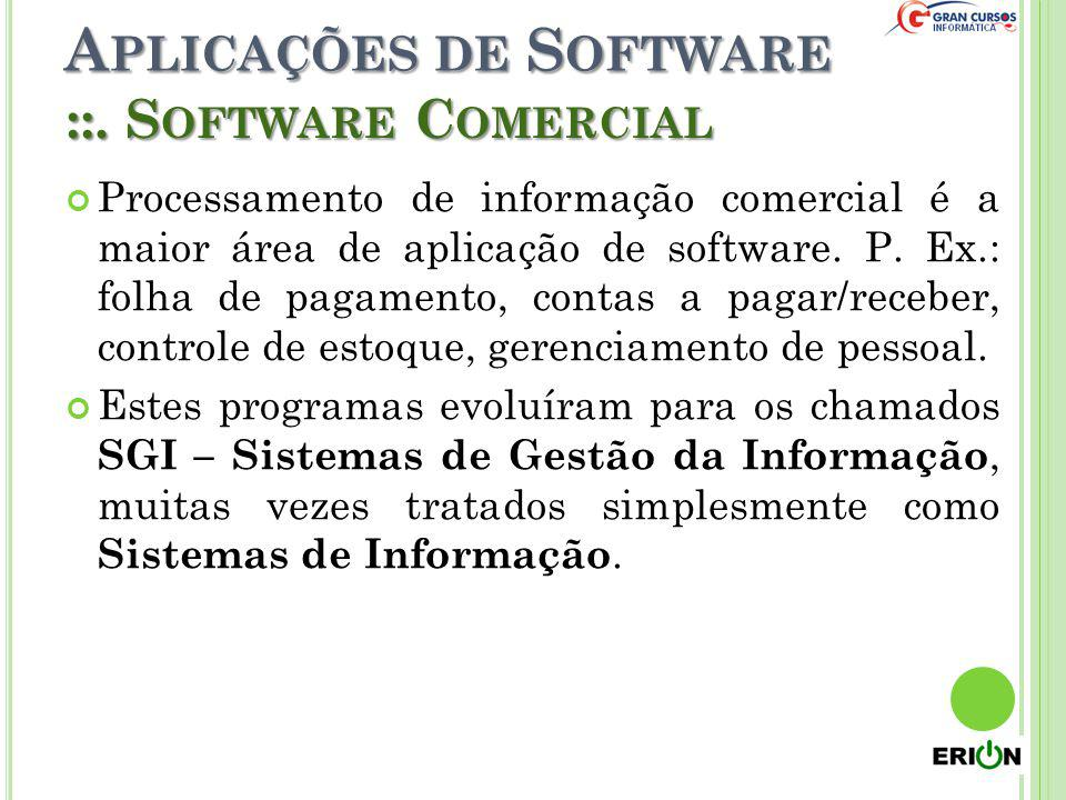 A PLICAÇÕES DE S OFTWARE Processamento de informação comercial é a maior área de aplicação de software. P. Ex.: folha de pagamento, contas a pagar/rec