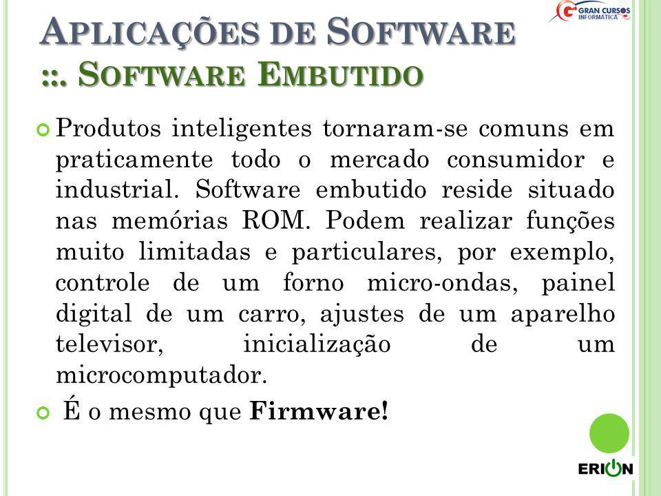A PLICAÇÕES DE S OFTWARE Produtos inteligentes tornaram-se comuns em praticamente todo o mercado consumidor e industrial. Software embutido reside sit