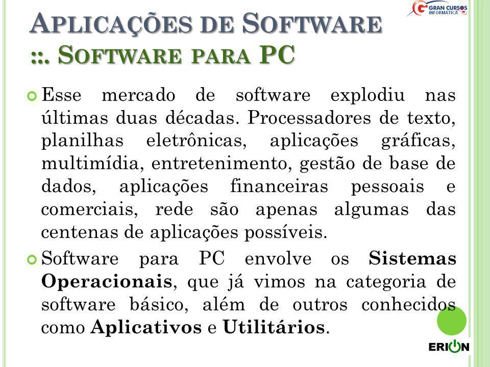 A PLICAÇÕES DE S OFTWARE Esse mercado de software explodiu nas últimas duas décadas. Processadores de texto, planilhas eletrônicas, aplicações gráfica