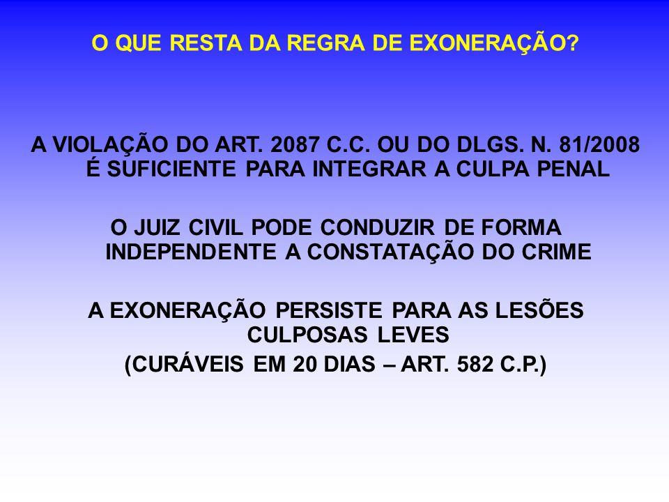 O QUE RESTA DA REGRA DE EXONERAÇÃO. A VIOLAÇÃO DO ART.