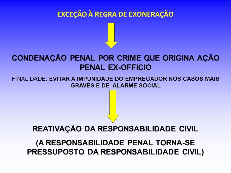 EXCEÇÃO À REGRA DE EXONERAÇÃO CONDENAÇÃO PENAL POR CRIME QUE ORIGINA AÇÃO PENAL EX-OFFICIO FINALIDADE: EVITAR A IMPUNIDADE DO EMPREGADOR NOS CASOS MAIS GRAVES E DE ALARME SOCIAL REATIVAÇÃO DA RESPONSABILIDADE CIVIL (A RESPONSABILIDADE PENAL TORNA-SE PRESSUPOSTO DA RESPONSABILIDADE CIVIL)