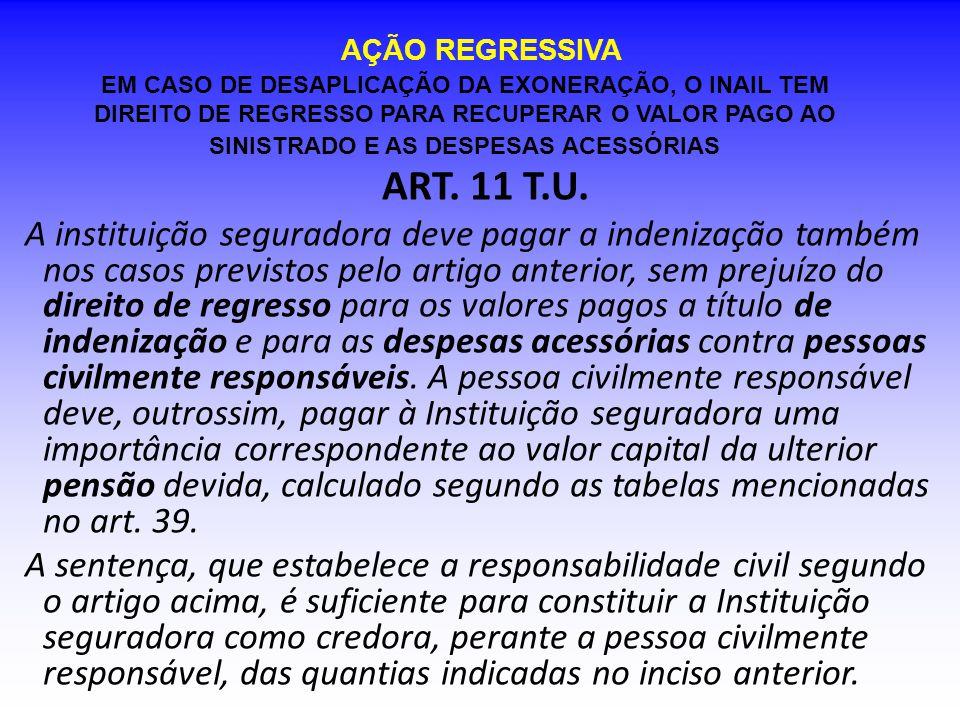 AÇÃO REGRESSIVA ART. 11 T.U. A instituição seguradora deve pagar a indenização também nos casos previstos pelo artigo anterior, sem prejuízo do direit