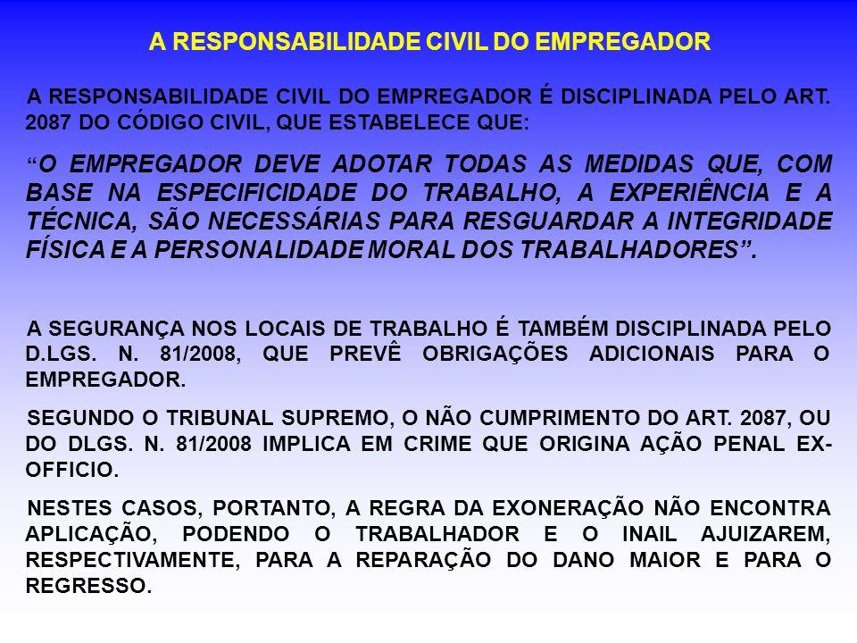 A RESPONSABILIDADE CIVIL DO EMPREGADOR A RESPONSABILIDADE CIVIL DO EMPREGADOR É DISCIPLINADA PELO ART.