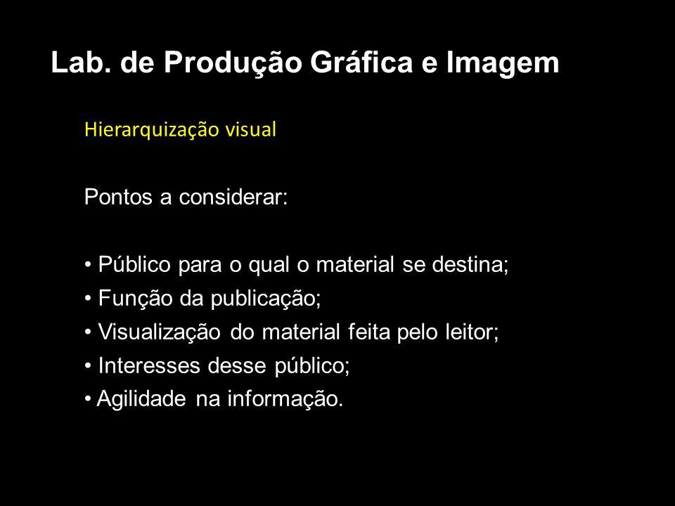 Hierarquização visual Pontos a considerar: Público para o qual o material se destina; Função da publicação; Visualização do material feita pelo leitor