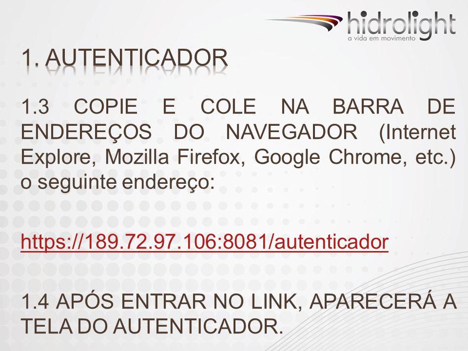 1.3 COPIE E COLE NA BARRA DE ENDEREÇOS DO NAVEGADOR (Internet Explore, Mozilla Firefox, Google Chrome, etc.) o seguinte endereço: https://189.72.97.10