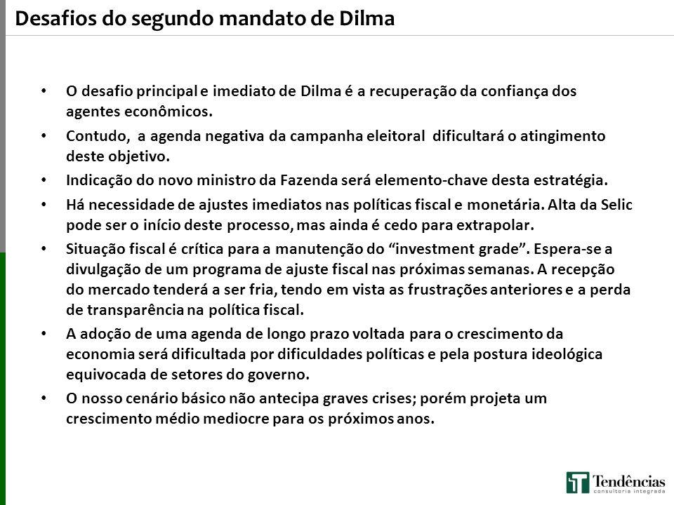 Desafios do segundo mandato de Dilma O desafio principal e imediato de Dilma é a recuperação da confiança dos agentes econômicos. Contudo, a agenda ne