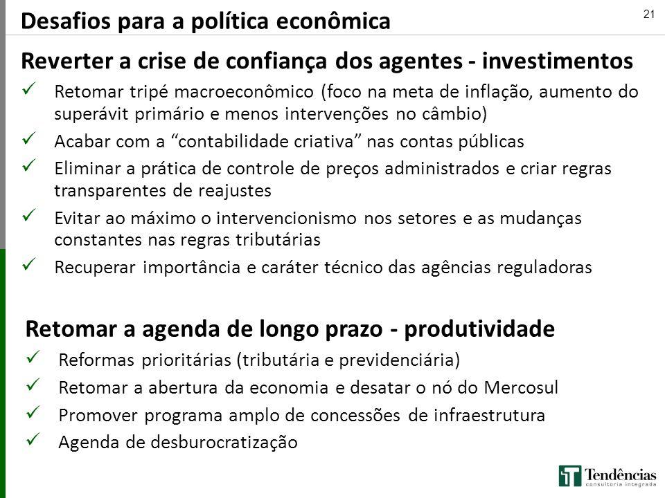 21 Desafios para a política econômica Reverter a crise de confiança dos agentes - investimentos Retomar tripé macroeconômico (foco na meta de inflação