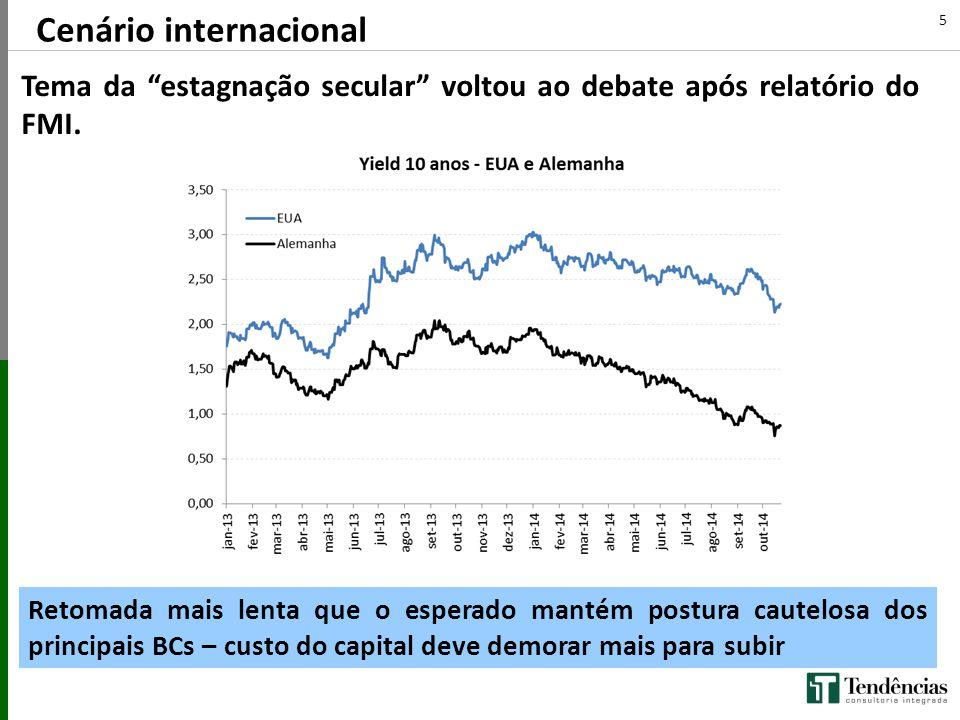 """Cenário internacional Tema da """"estagnação secular"""" voltou ao debate após relatório do FMI. 5 Retomada mais lenta que o esperado mantém postura cautelo"""