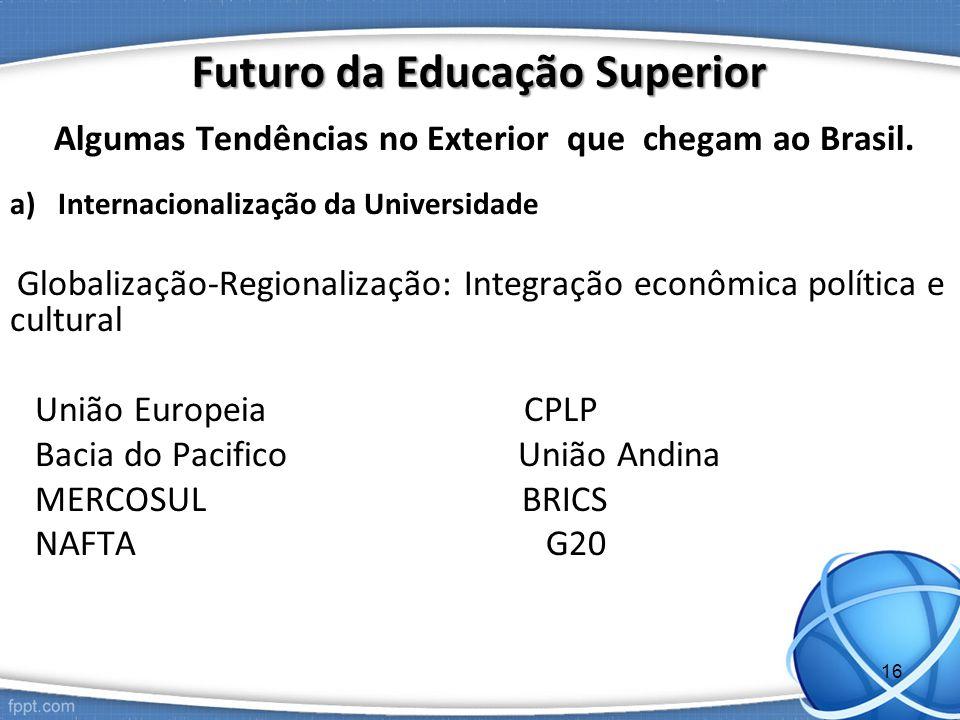 Algumas Tendências no Exterior que chegam ao Brasil. a)Internacionalização da Universidade Globalização-Regionalização: Integração econômica política