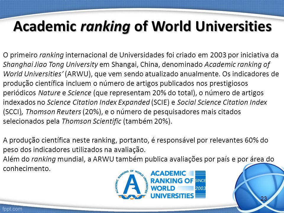 O primeiro ranking internacional de Universidades foi criado em 2003 por iniciativa da Shanghai Jiao Tong University em Shangai, China, denominado Academic ranking of World Universities' (ARWU), que vem sendo atualizado anualmente.
